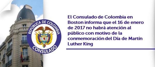 Consulado de Colombia en Boston informa que el 16 de enero de 2017 no habrá atención al público